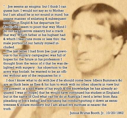 Junius on his brother Joe 1862