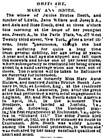 MAB Obit 10-23-1885 Boston Daily Advertiser