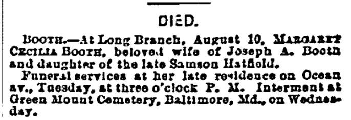 Margaret Cecilia Booth Obit 8-12-1884 New York Herald