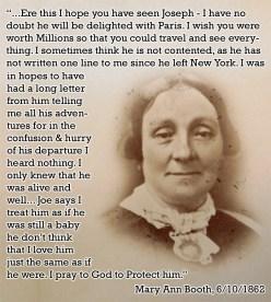 Mary Ann on her son Joe 1862