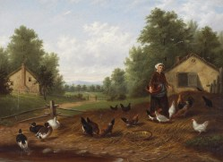 A Farm Scene with Ducks and Chickens by Howard Hill
