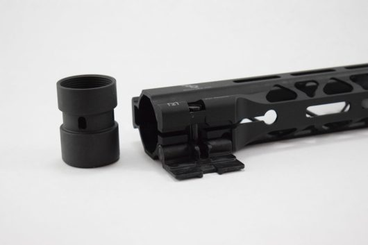 Close-up of attachment point for Bootleg Inc's CamLok AR-15 Handguard