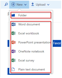 OneDrive Add File or Folder