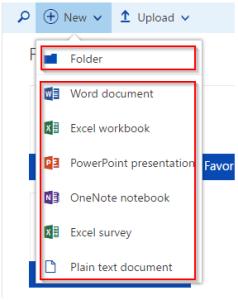 OneDrive Add File or Folder