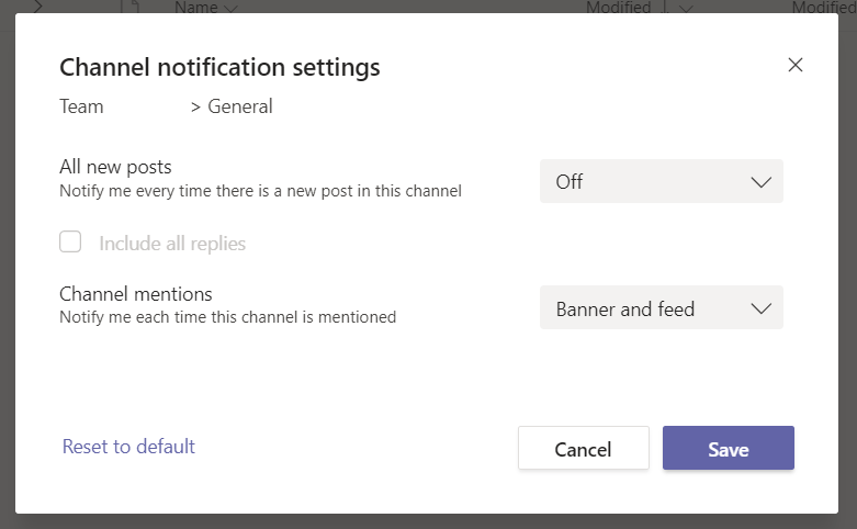 Channel notification settings in Microsoft Teams.