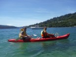 Going for a little paddle in the cove with Emilie
