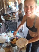 Lindsay digging into a breakfast that isn't oatmeal or granola!