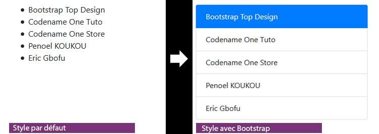 styliser l'élément HTML liste à l'aide de Bootstrap