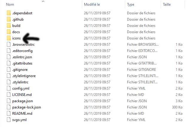 contenu du fichier décompressé des icones bootstrap