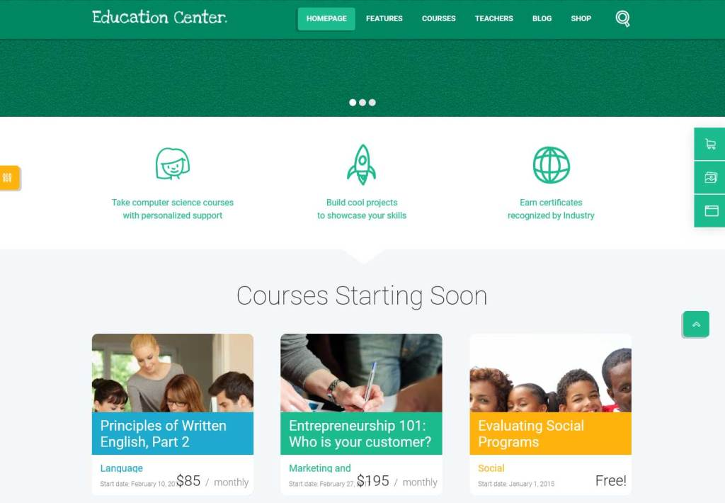 Education Center: thèmes wordpress premiums pour site d'éducation