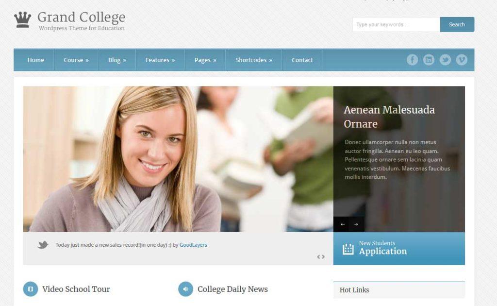 Grand College: thèmes wordpress premiums pour site d'éducation