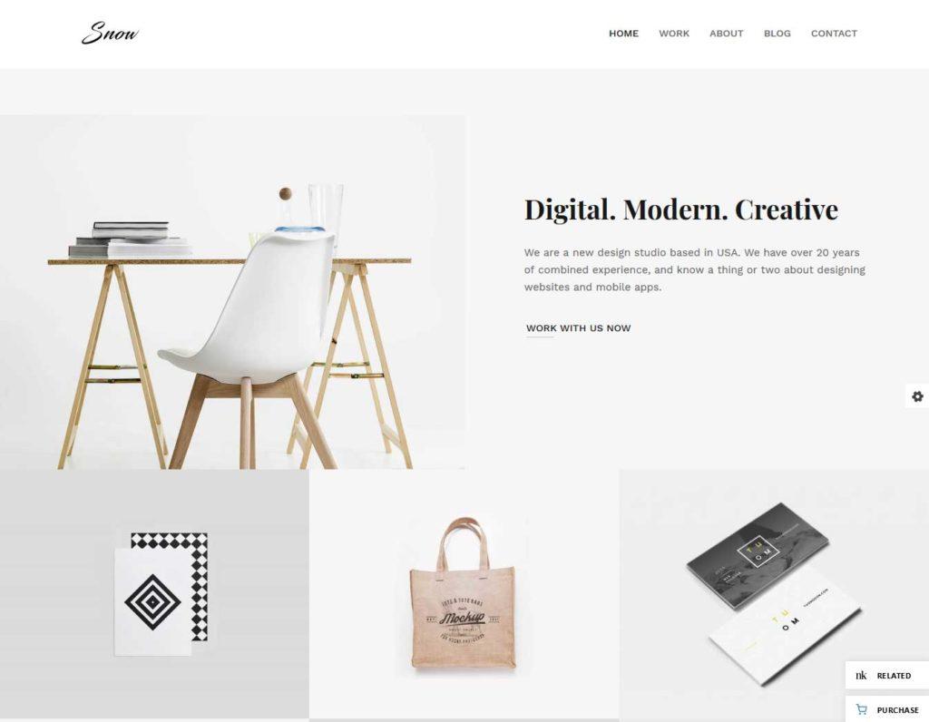 snow: thème wordpress portfolio