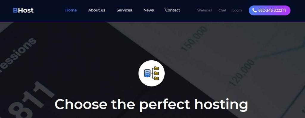 bhost : template gratuit responsive pour créer un site d'hébergement