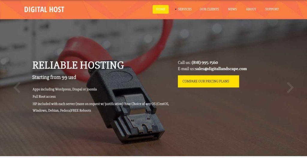 digital-host : template gratuit responsive pour site d'hébergement