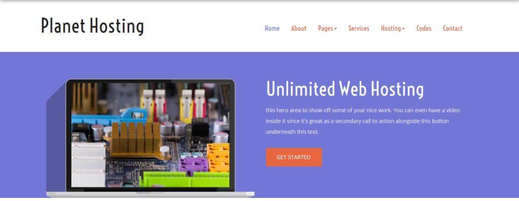 planet-hosting : template gratuit responsive pour site d'hébergement