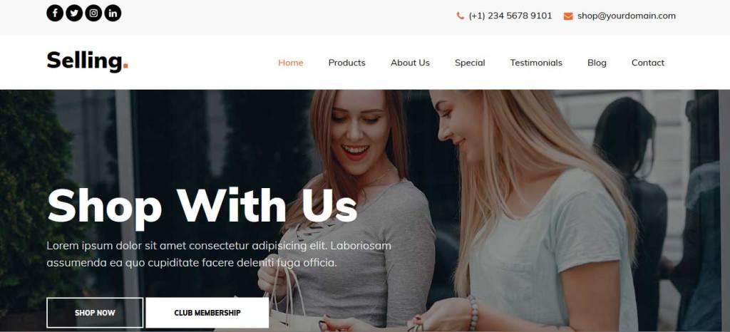 selling : thème responsive gratuit ecommerce de mode