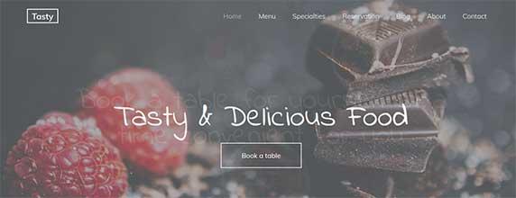 tasty : thème responsive gratuit pour site de restaurant