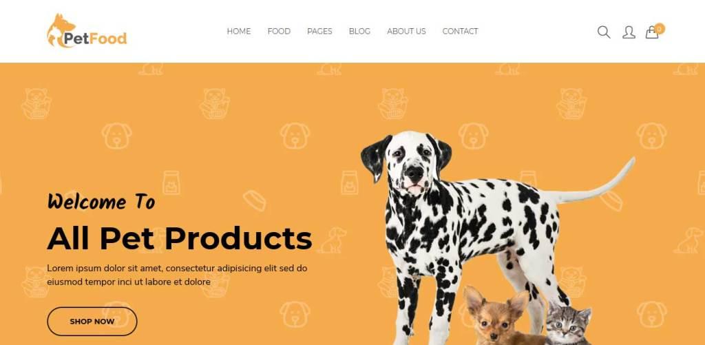 petfood : themes pour site d'animaux