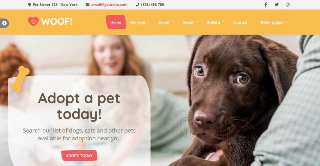 woof : themes pour site d'animaux