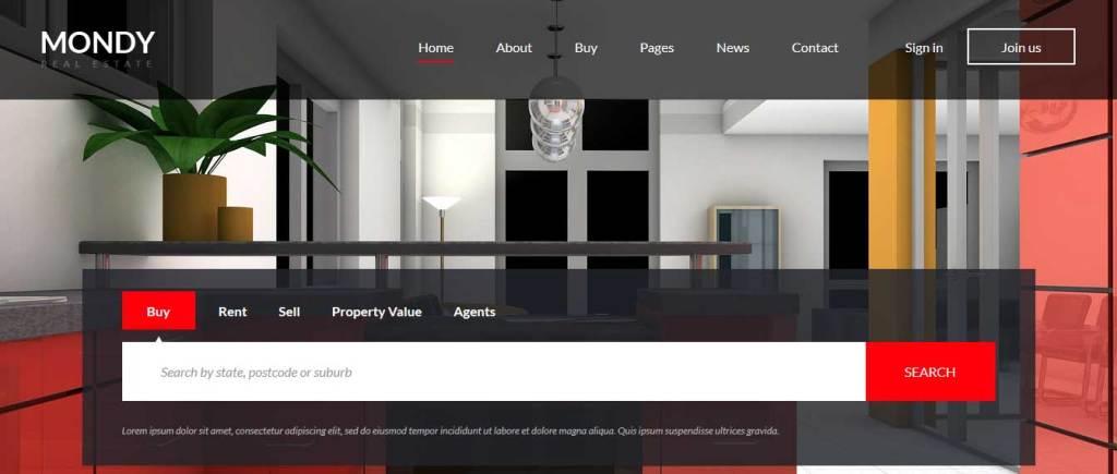 mondy : thème gratuit pour site d'immobilier