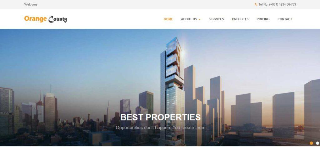 orange county : thème gratuit pour site d'immobilier
