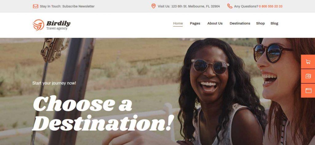 birdily : thème premium pour agence de voyage