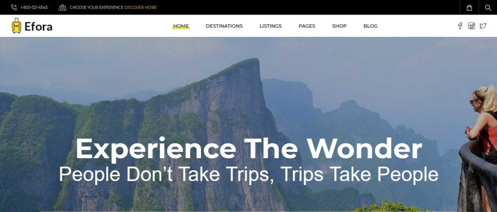 Efora : thème premium pour agence de voyage