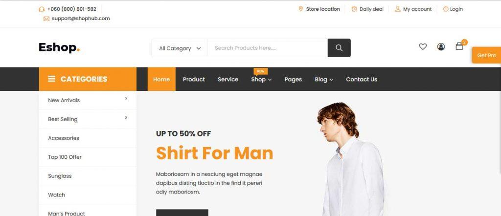 eshop : thème pour site d'ecommerce