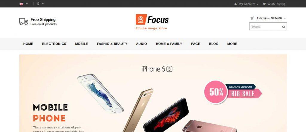 focus : thème pour site d'ecommerce