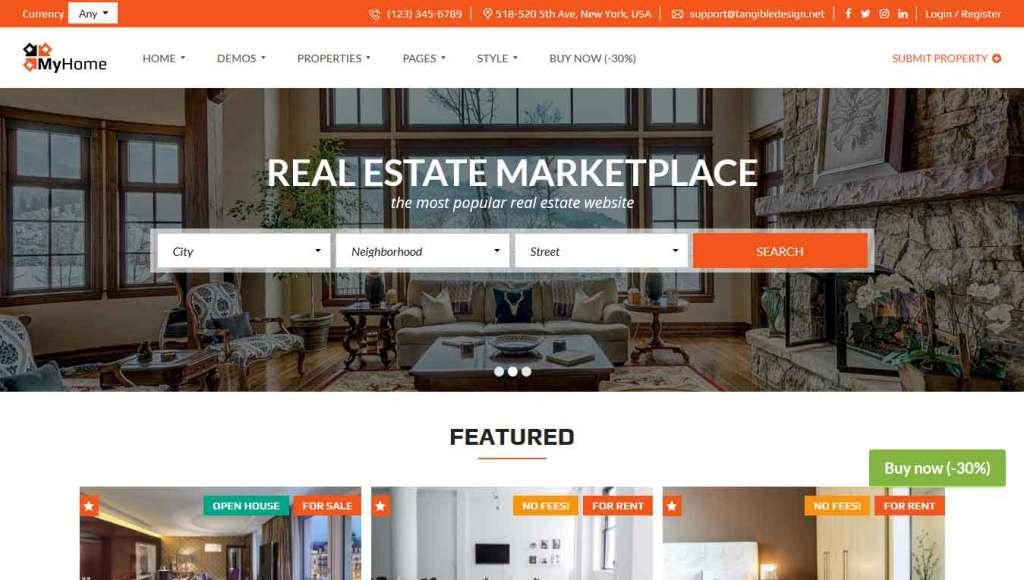 Myhome : Thème wordpress pour site d'immobilier