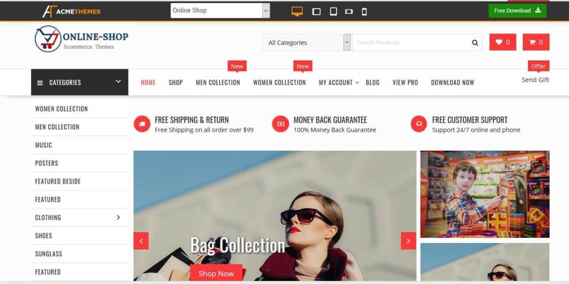 online shop : thème wordpress gratuit