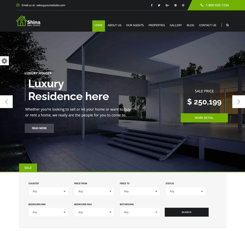 shina : Thème wordpress pour site d'immobilier
