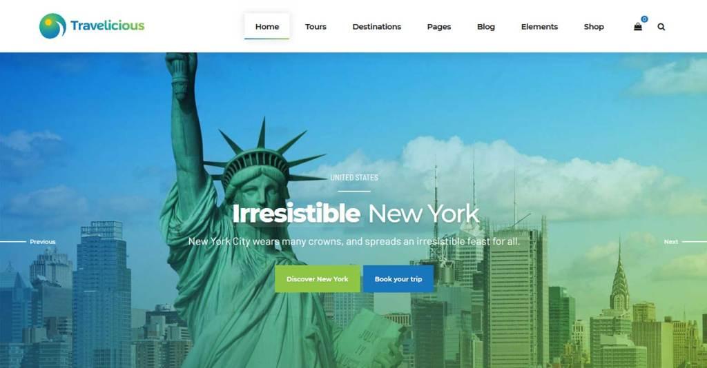 Travelicious : thème wordpress pour agence de voyages