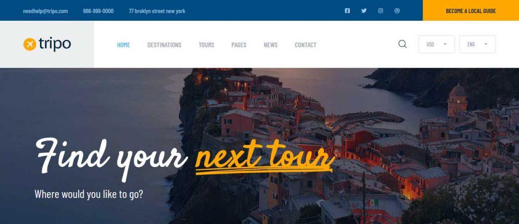 Tripo : thème premium pour agence de voyages