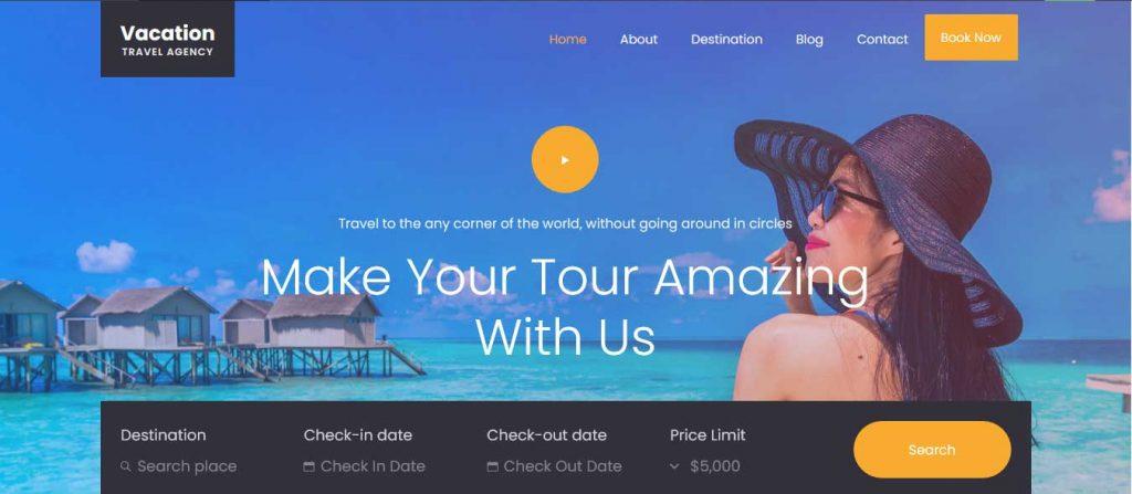 Vacation : template bootstrap agence de voyages gratuit