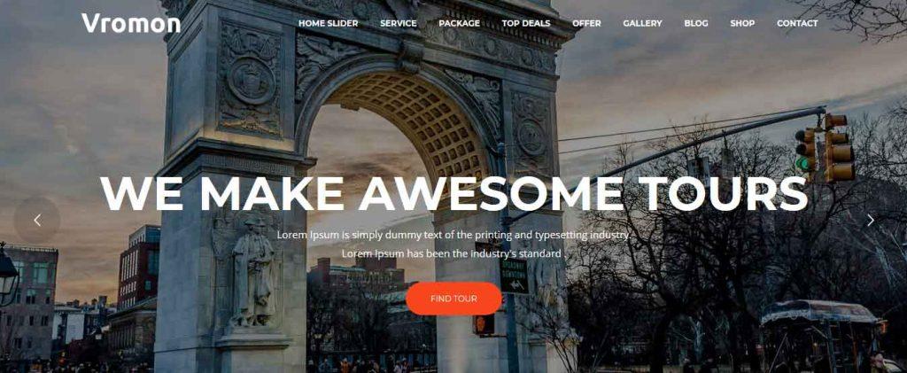 Vromon : thème premium pour agence de voyages