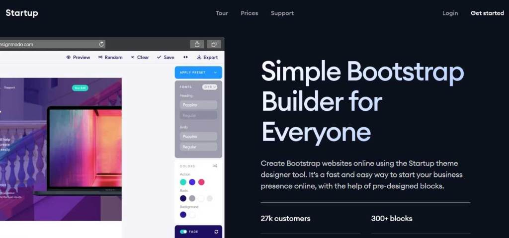 startup outil pour créer template bootstrap