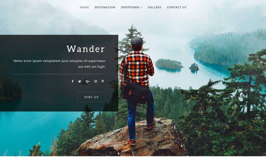wander : template bootstrap agence de voyage gratuit