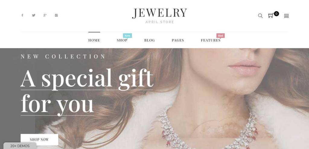 April : thèmes pour site shopify de bijoux