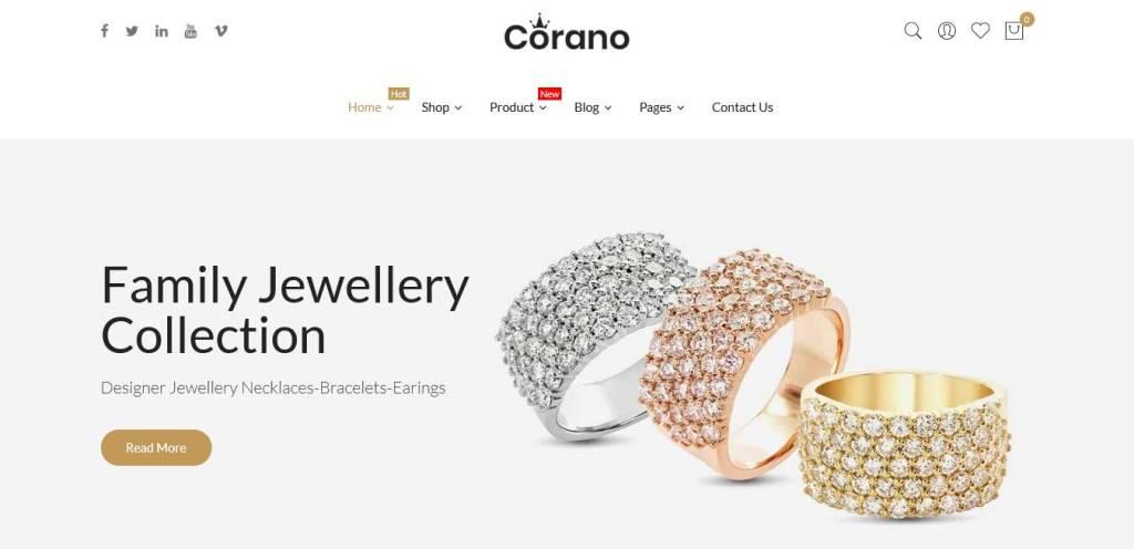 corano : thèmes pour site shopify de bijoux