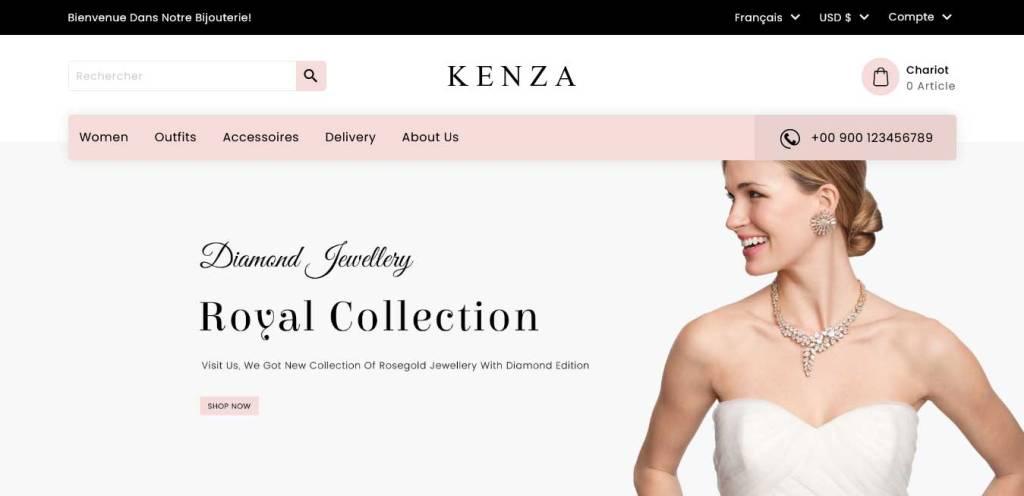 kenza : thèmes prestashop pour site de bijoux