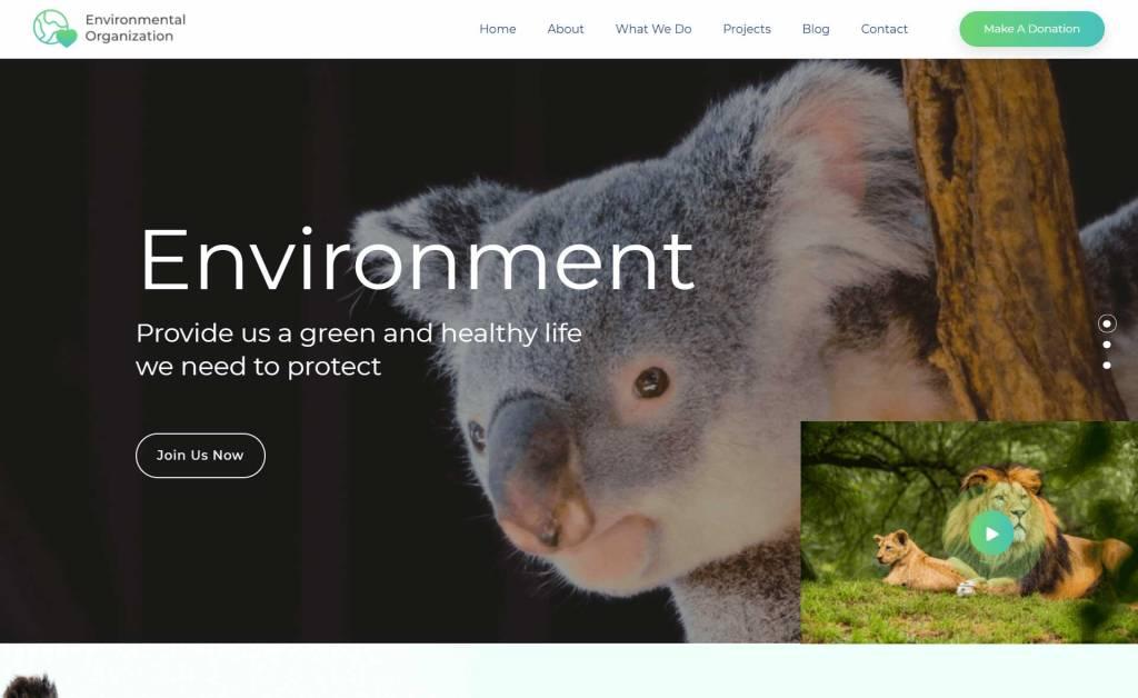 Environmental Organisation : thèmes gratuits pour site d'association