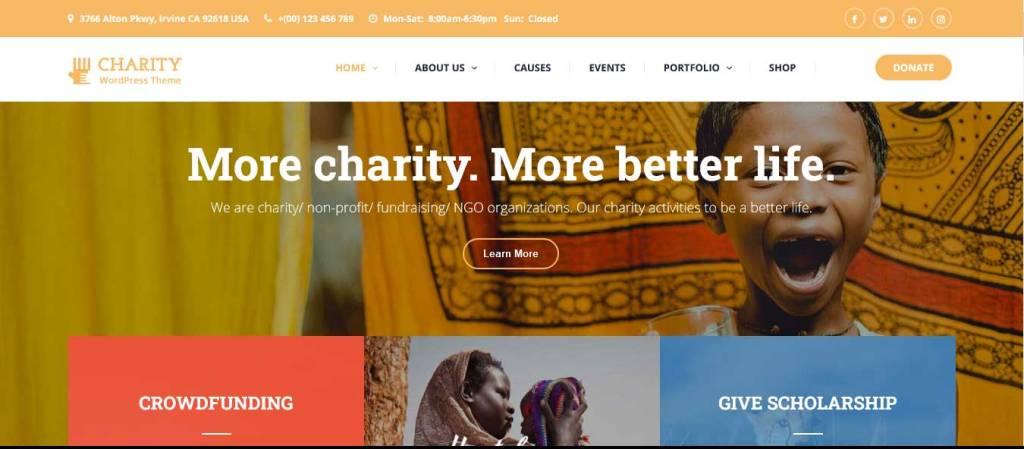 charitix : thèmes wordpress pour site d'association