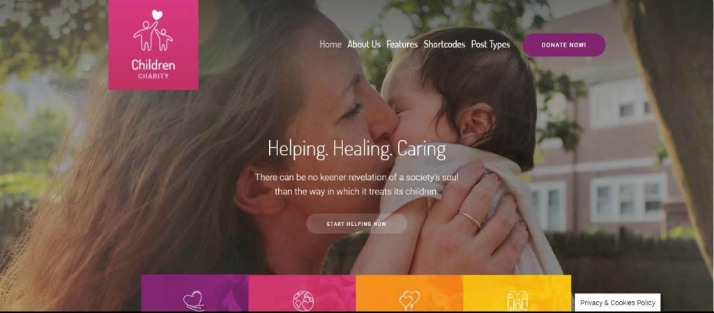 children charity : thèmes wordpress pour site d'association