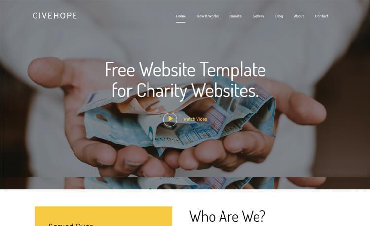 givehope : thèmes gratuits pour site d'association