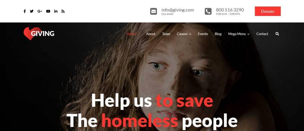 giving : thèmes wordpress pour site d'association