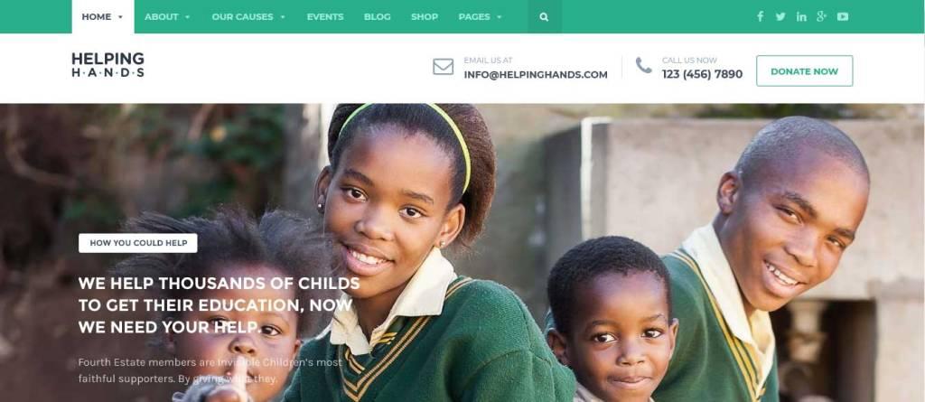 helping hands : thèmes wordpress pour site d'association