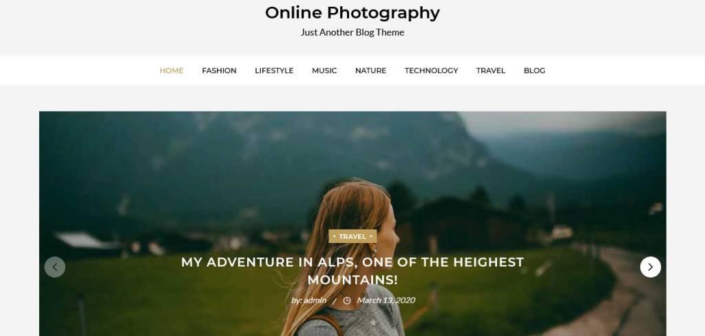 online photography : thèmes wordpress gratuits pour photographes
