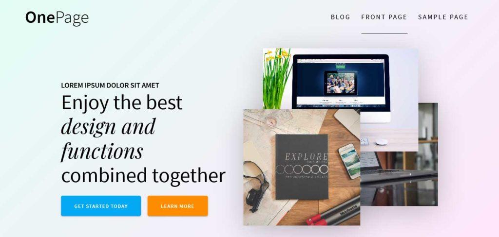 one page express : thèmes WordPress gratuits pour agence web