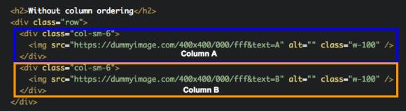 change column order bootstrap 4
